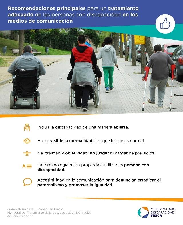 Recomendaciones principales para un tratamiento adecuado de las personas con discapacidad en los medios de comunicación