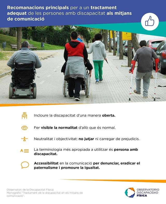 Recomanacions principals per a un tractament adequat de les persones amb discapacitat als mitjans de comunicació